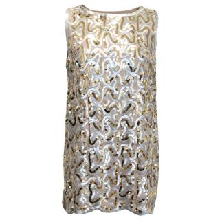 Malene Birger Gold And Silver Sequined Tank Top
