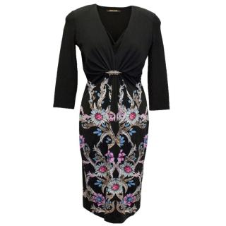 Roberto Cavalli Stretch Black Floral Print Dress