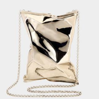 Anya Hindmarch Gold crisp packet clutch