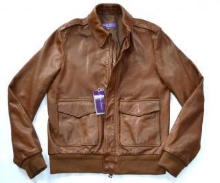 Ralph Lauren Purple Label Men's brown leather bomber jacket
