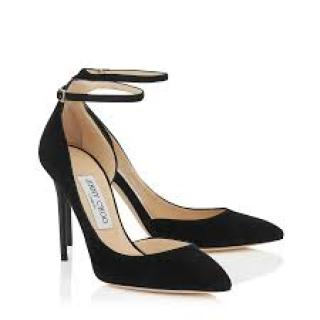 Jimmy Choo Lucy 100 Black Suede ankle-strap Pumps