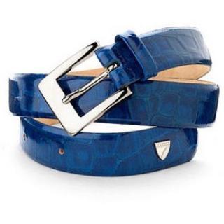 Aspinal of London Ladies Jeans Belt Blue Patent Mock Croc Size S