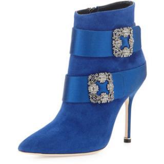 Manolo Blahnik Hangisi evening ankle suede satin blue boot
