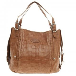 Tod's alligator skin shoulder tote