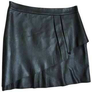 Maje black leather mini skirt