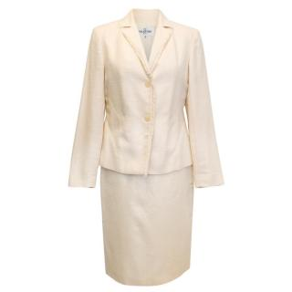 Valentino Miss V Cream Blazer And Skirt Two Piece Suit