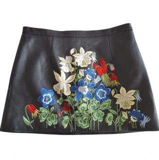 Christopher Kane embroidered leather skirt size 12