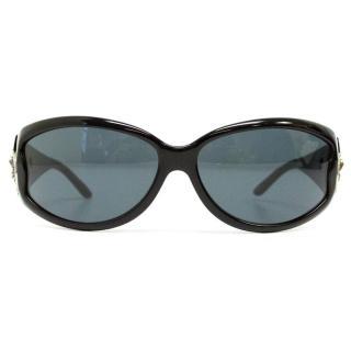 Bvlgari '858b' Black Sunglasses With Silver Swarovski Crystals