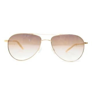 Oliver Peoples 'Benedict' Gold Aviator Reading Sunglasses