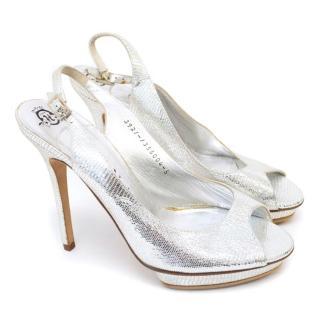 Gina Metallic Silver Slingback Open Toe heels