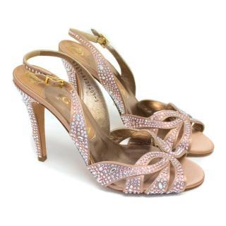 Gina Pink Swarovski Encrusted Open Toe Slingback Heels