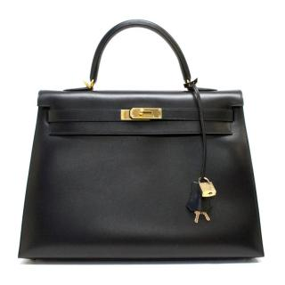 Hermes 35cm Black Kelly In Box Leather With Gold Hardware