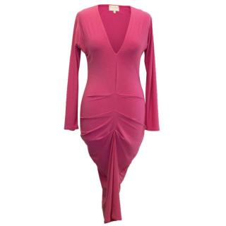 Honor Gold Pink Fitted Dress with Ruching