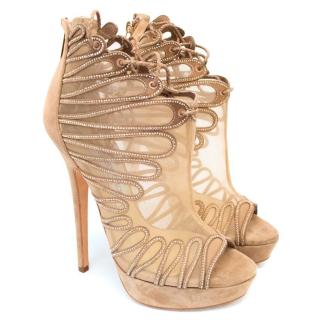 Jimmy Choo Beige Suede Lace Up Shoe Boots