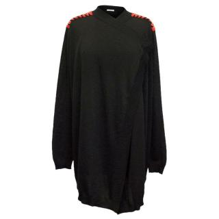 Givenchy Black Cardigan With Red Lace up Shoulder Detail