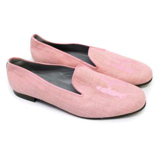 Hadleigh's Light Pink loafers With Blue Lining Detail