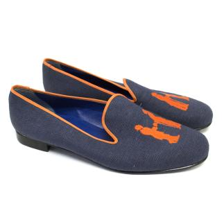 Hadleigh's Navy Canvas Loafers With Orange Logo