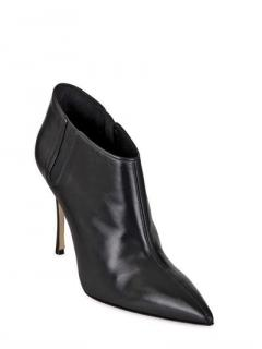 Manolo Blahnik black leather ankle booties