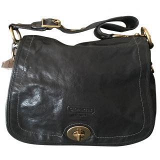 Coach black leather shoulder bag