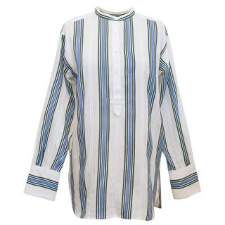 Vince Cream Monk Shirt With Green And Blue Stripes