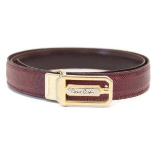 Pierre Cardin 1970's Bordeaux Red Lizard Skinny Belt