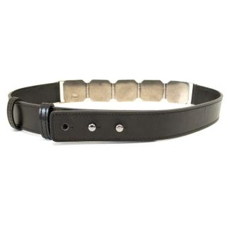 Vionnet Black Belt With Silver Honeycomb Hardware