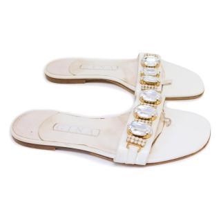 Gina White Crystal Embellished Thong Flat Flip Flop Sandals