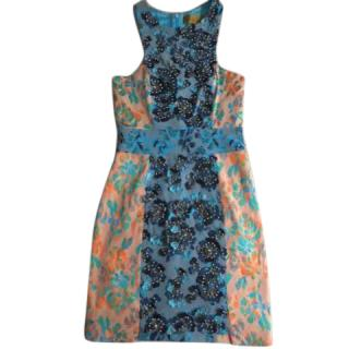 Nicole Miller Floral Applique Dress