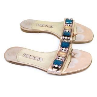 Gina Pink Metallic Crystal Embellished Thong Flip Flop Sandals