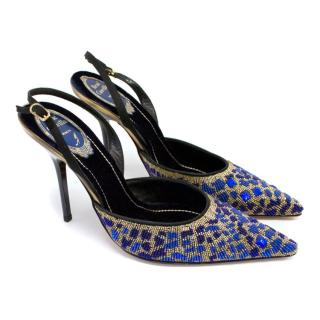 Rene Caovilla Blue Beaded Slingback Evening Shoes