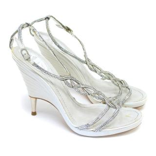 Rene Caovilla Silver And White Crystal Embellished T-Bar Heels
