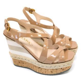 Prada Nude Patent Square Open Toe Wedge Sandals