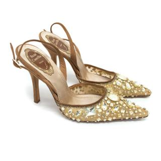 Rene Caovilla Brown Suede Gold Encrusted Slingback Heels