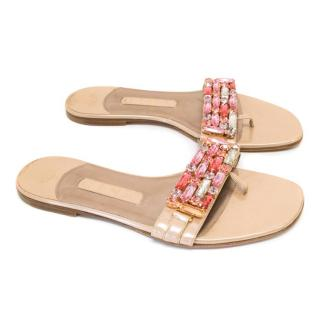 Gina Nude Patent Flat Sandals With Pink Embellishments