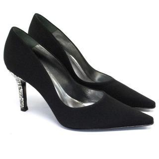 Stuart Weitzman Black Silk-Blend Court Shoe With Encrusted Heels