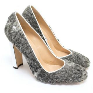 Manolo Blahnik Shearling Grey Pumps With Patent White Heel