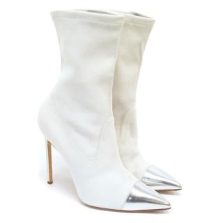 Manolo Blahnik Cream Pointed Sock Boots With Silver Toe