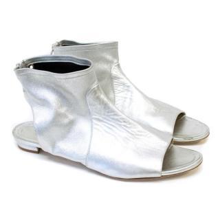 Manolo Blahnik Silver Ankle Peeptoe Flats