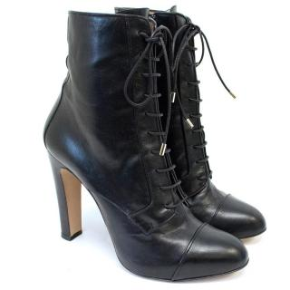 Bionda Castana Black Lace Up Heel Boots