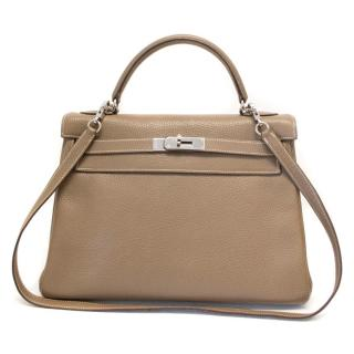 Hermes Etoupe Togo Leather Retourne Kelly 28cm With Palladium Hardware