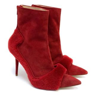 Manolo Blahnik Red Shearling And Suede Pointed Boots