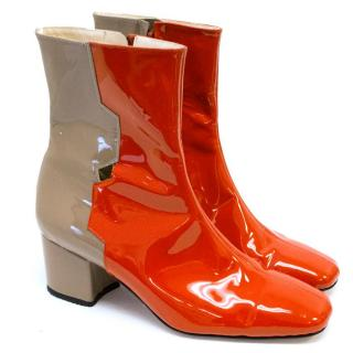 Dorateymur Red And Nude Patent Ankle Boots