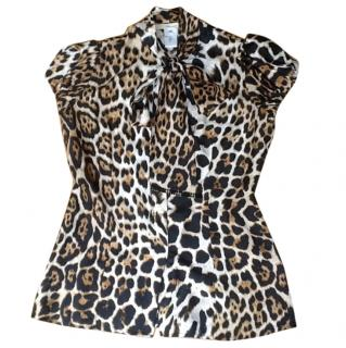 Blumarine pussy bow leopard print silk blouse sz 42