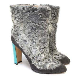 Manolo Blahnik Shearling Grey Boots With Patent Blue Heel