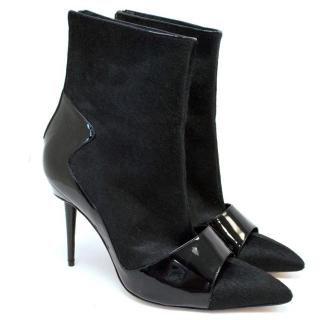 Manolo Blahnik Black Pony Hair And Patent Pointed Boots
