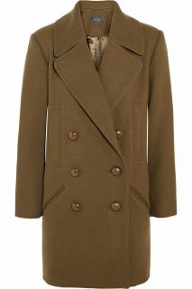 Isabel Marant army green Ziggy wool-blend brushed-twill coat