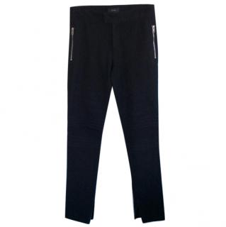 Joseph black stretch gaberdine skinny trousers with zips
