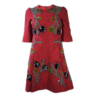 NEW Dolce and Gabbana Red Brocade Dress