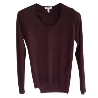 Nicole Farhi aubergine coloured wool jumper with asymmetric hemline