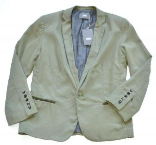 Zadig & Voltaire leather trim khaki jacket